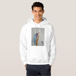 Hoodie with a bright image of two falling a part.