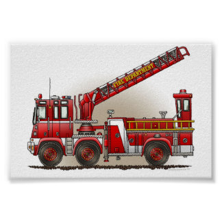 Hook and Ladder Fire Truck Poster