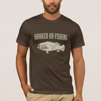 Hooked on Fishing Quote Brown and Beige T-Shirt
