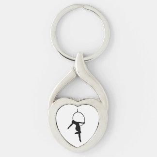HOOP LOVE - AERIAL HOOP / LYRA Silhouette Key Ring Silver-Colored Twisted Heart Key Ring