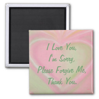 Ho'oponopono magnet-pinkheart square magnet