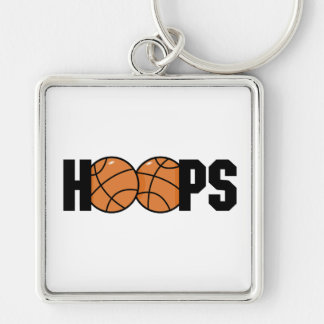hoops basketball design Silver-Colored square key ring