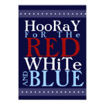 Hooray for the Red White and Blue 4th of July 5x7 Paper Invitation Card