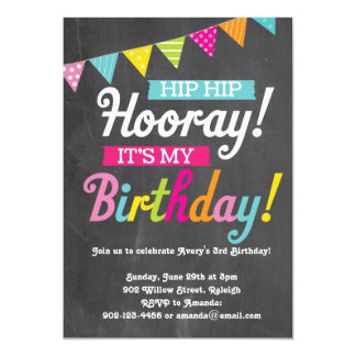 Hooray It's My Birthday 13 Cm X 18 Cm Invitation Card