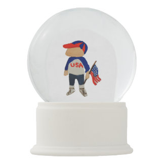 Hooray USA Red, White and Blue Toddie Time July 4 Snow Globe