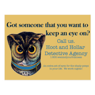 Hoot and Hollar Detective Agency Postcard