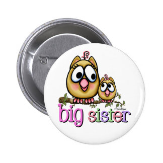 Hoot for Big Sister 6 Cm Round Badge
