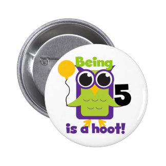 Hoot Owl 5th Birthday T-shirts and Gifts Pinback Button