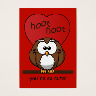 Hoot Owl Valentine Red Heart Kids Pack Business Card