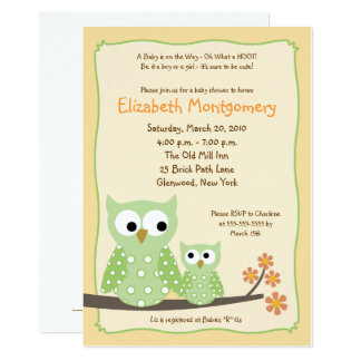 Hoot Owls Green Neutral Baby Shower (Old Version) Card