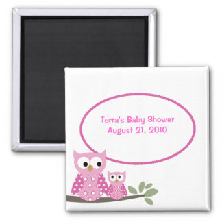 Hoot Owls PINK Baby Shower Favor Magnet