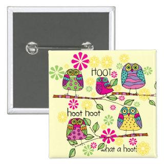Hootie Owl 15 Cm Square Badge