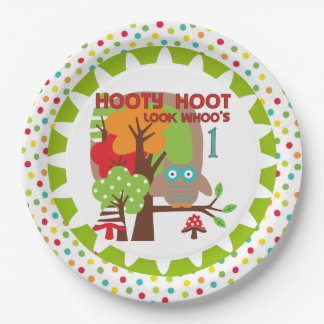 Hooty Hoot Owl 1st Birthday Paper Plates 9 Inch Paper Plate