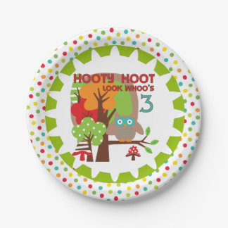 Hooty Hoot Owl 3rd Birthday Paper Plates 7 Inch Paper Plate