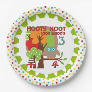 Hooty Hoot Owl 3rd Birthday Paper Plates 9 Inch Paper Plate