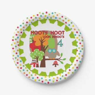 Hooty Hoot Owl 4th Birthday Paper Plates 7 Inch Paper Plate