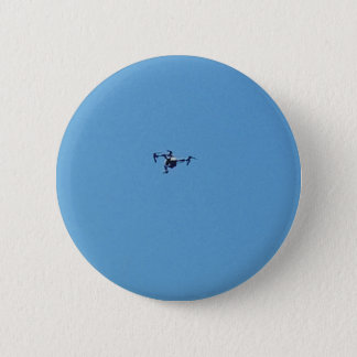 Hoovering Drone Against Blue Sky Simplicity 6 Cm Round Badge