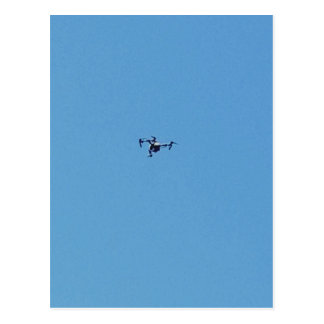 Hoovering Drone Against Blue Sky Simplicity Postcard