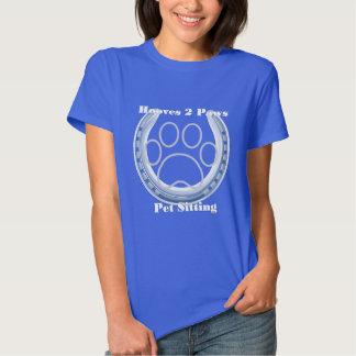 hooves 2 paws ladies logo blue tee