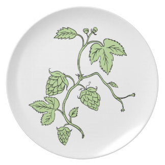 Hop Plant Climbing Drawing Plate