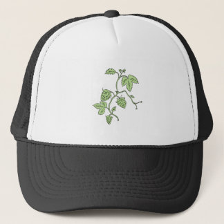 Hop Plant Climbing Drawing Trucker Hat