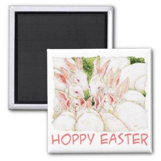 """Hop""py Easter - White Rabbits Magnet"