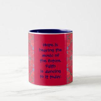 hope and faith Two-Tone coffee mug
