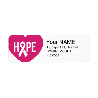 Hope Breast Cancer awareness pink ribbon on heart Return Address Label
