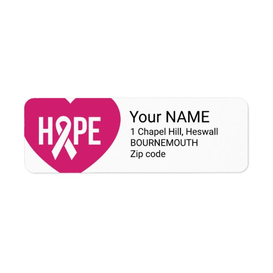 Hope Breast Cancer awareness pink ribbon on heart Return Address Label