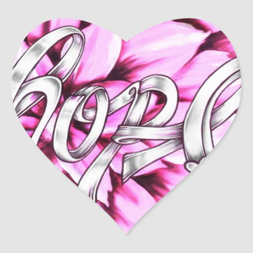 Hope breast cancer ribbon sitckers, give hope heart sticker