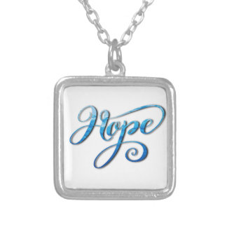 HOPE BRUSH LETTERING CALLIGRAPHY SILVER PLATED NECKLACE