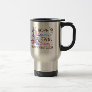 Hope Courage Faith Strength 3 Male Breast Cancer Stainless Steel Travel Mug