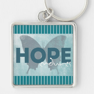 """Hope Endures"" Beautiful Blue Butterfly Key Chain"