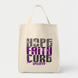 HOPE FAITH CURE EPILEPSY T-Shirts & Apparel Grocery Tote Bag