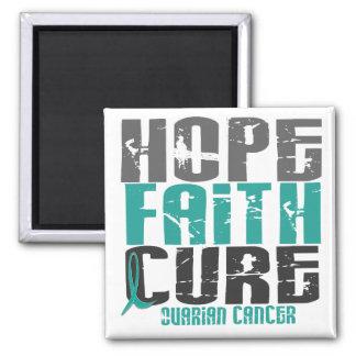 HOPE FAITH CURE OVARIAN CANCER SQUARE MAGNET