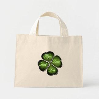 Hope, Faith, Love, & Luck 4 Leaf Clover Bag