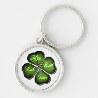 Hope, Faith, Love, & Luck 4 Leaf Clover Silver-Colored Round Key Ring
