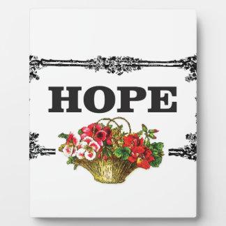 hope flower basket display plaque