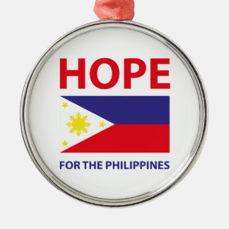 Hope For The Philippines Silver-Colored Round Decoration
