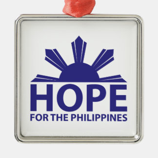 Hope For The Philippines Silver-Colored Square Decoration