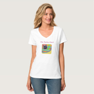Hope Healing Church Christian Cat V-Neck T-Shirt