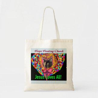 Hope Healing Church Jesus Love Cat Tote Bag