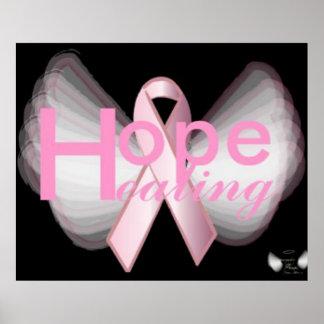 Hope HealingOn Angelic Wings Pink Ribbon Poster