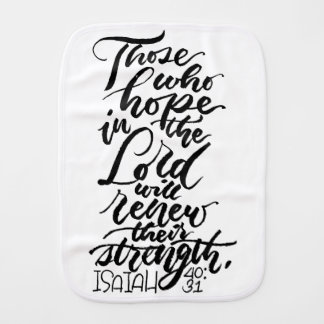 Hope in the Lord Brush Script Burp Cloth