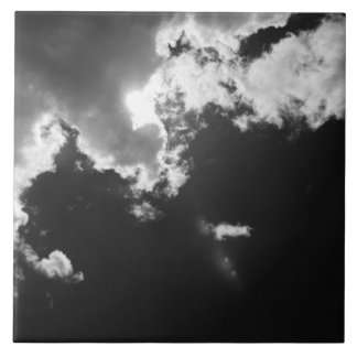 Hope in the silver lining of the clouds. large square tile