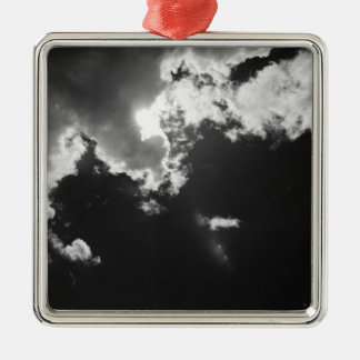 Hope in the silver lining of the clouds. Silver-Colored square decoration