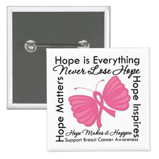 Hope is Everything - Breast Cancer Awareness 15 Cm Square Badge