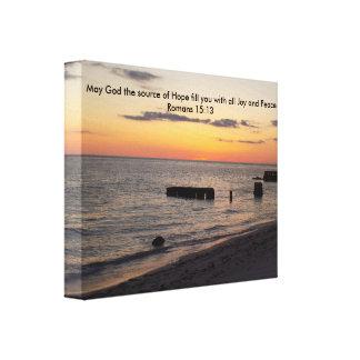 Hope Joy Peace Florida Siesta Beach Sunset Gallery Wrapped Canvas
