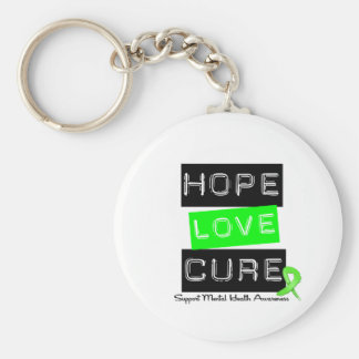 Hope Love Cure - Mental Health Awareness Basic Round Button Key Ring