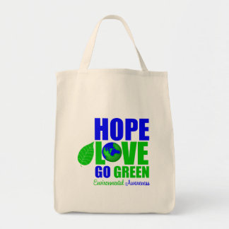 Hope Love Go Green Earth Awareness Canvas Bags